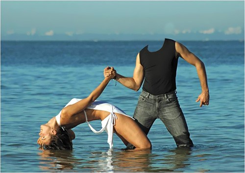 Шаблон для фотомонтажа - Бурные танцы с красивой девушкой
