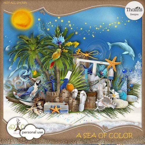 Яркий морской скрап-набор - Цветное море