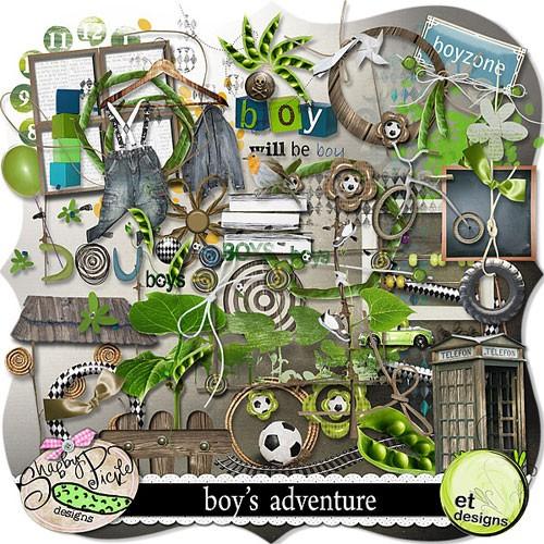 Детский скрап-набор для мальчиков - Приключения мальчишек