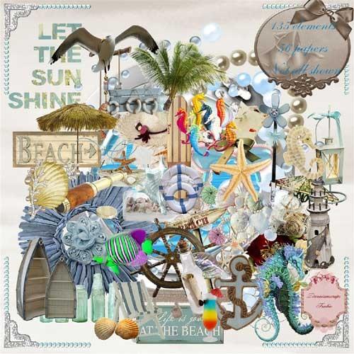 Морской скрап-набор - На пляже