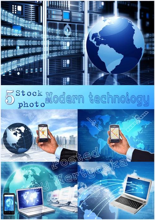 Современные технологии, смартфон, коммуникатор, ноутбук - растровый клипарт