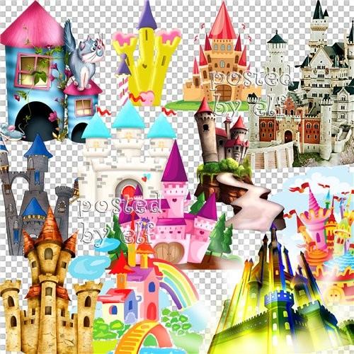 Сказочные замки на прозрачном фоне