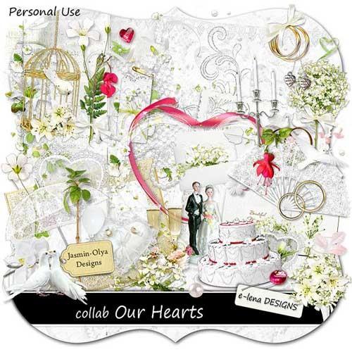 Шикарный свадебный скрап-набор - Наши сердца
