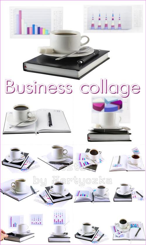 Бизнес коллаж, чашка кофе, офисные элементы на белом фоне - растровый клипа ...