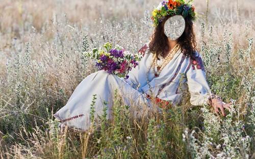 Шаблон женский - Девушка в красивом венке