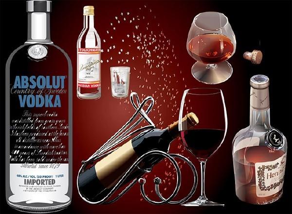Клипарт прозрачные фужеры и бутылки с вином