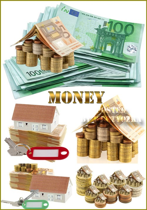 Деньги, монеты, золото, купюры - растровый клипарт