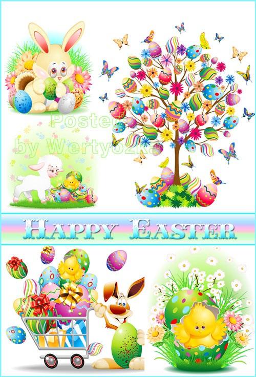 Пасха, пасхальный кролик, цыпленок, овечка, пасхальные яйца, бабочки - вект ...