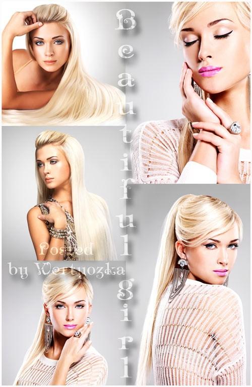 Девушка с длинными волосами, красивая блондинка - растровый клипарт