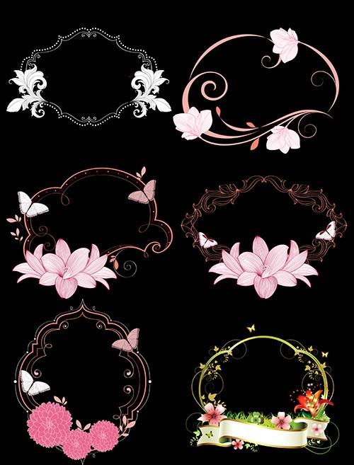 Клипарт узорные рамки вырезы с цветами и бабочками