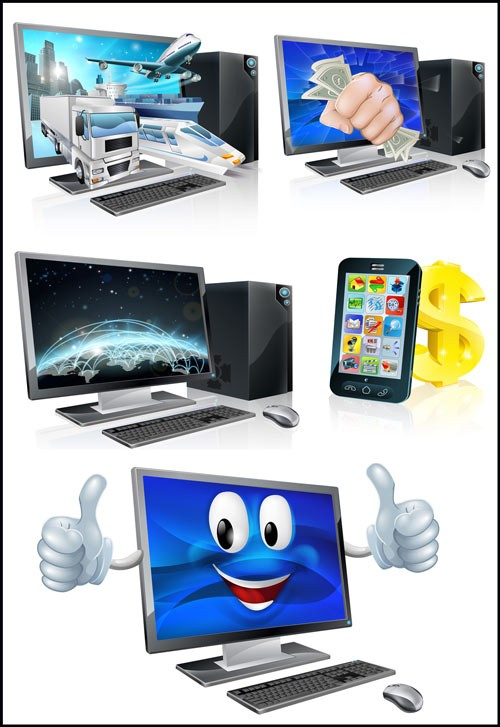 Современные технологии, ноутбук, смартфон - векторный клипарт