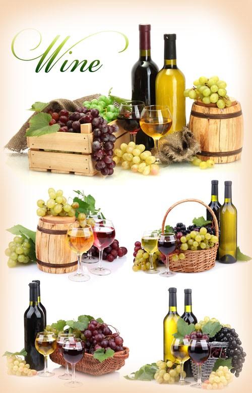 Вино, виноград, бокалы с вином - растровый клипарт