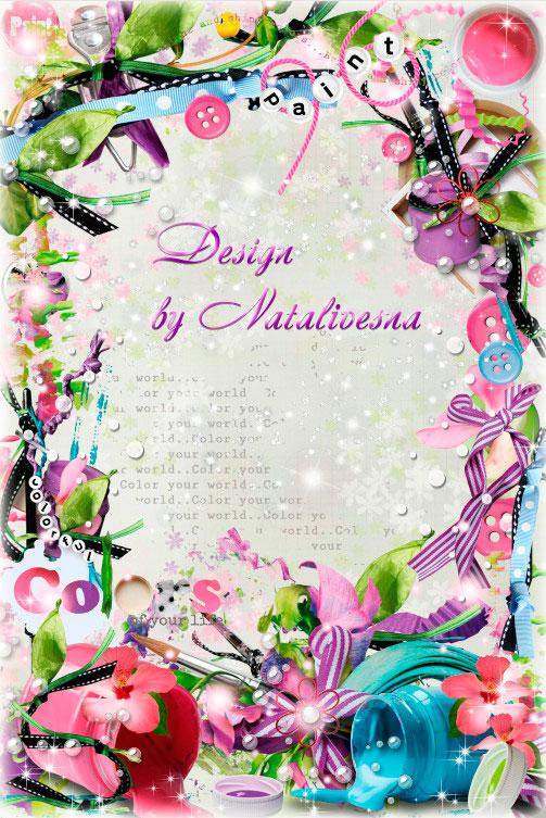 Цветочная рамочка -  Акварельное искусство - кисти, краски и холсты