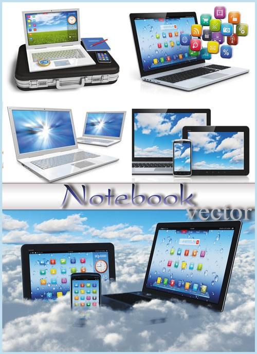 Ноутбуки, современные технологии - растровый клипарт