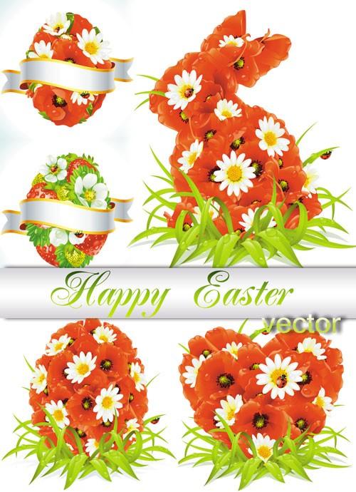 Пасхальный кролик из красных маков и ромашек, цветочные пасхальные яйца - в ...