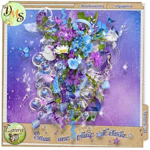 Нежный скрап-набор в голубых тонах - Звёздный дождь