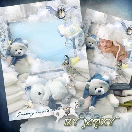 Рамка с белыми медвежатами для фото малышей - Сонная фантазия