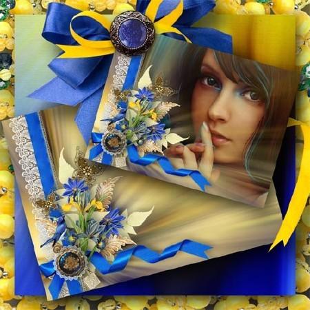 Рамка с цветами - Сине-золотой шик