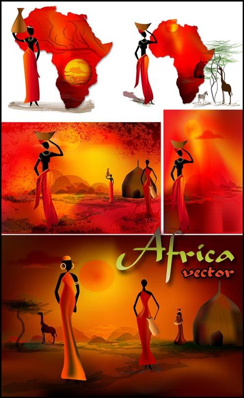 Африка, африканские женщины - векторный клипарт