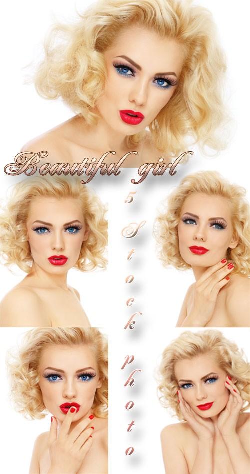 Девушка с ярким макияжем, очаровательная блондинка - растровый клипарт