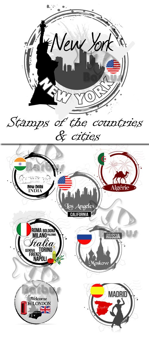 Stamps of the countries and cities / Марки городов и стран - Vector stock