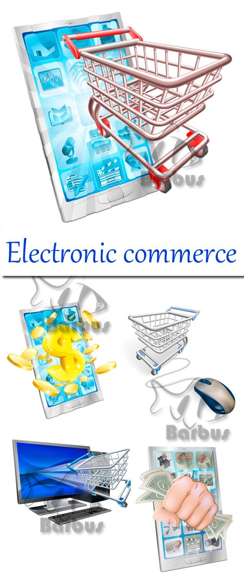 Electronic commerce / Электронная комерция - Vector stock