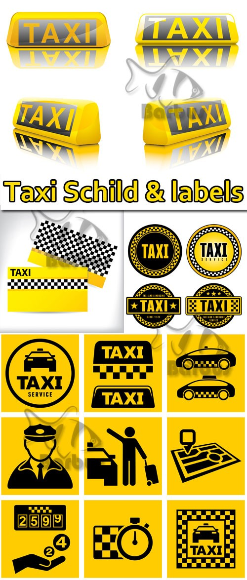 Taxi Schild and labels / Такси таблички и наклейки - Vector stock