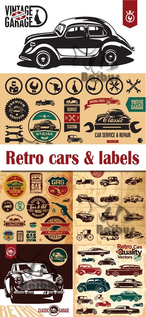 Retro cars and labels / Ретро машини и наклейки