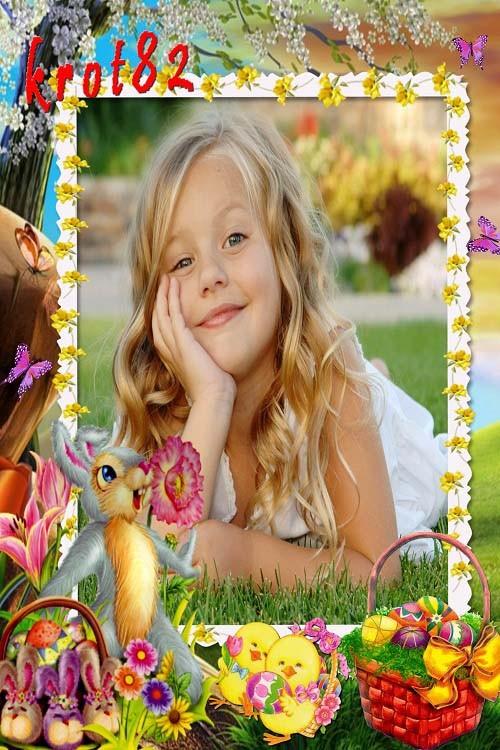 Детская пасхальная рамка – Зайки, цыплята и корзина с яйцами