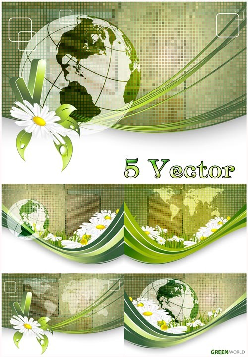 Зеленый мир, планета - векторный клипарт