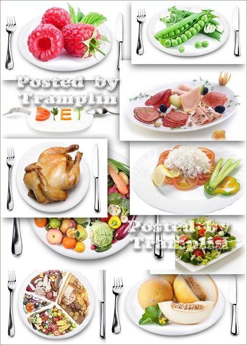 Растровые изображения на белом фоне - Еда на тарелках