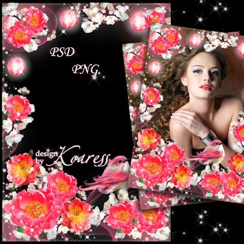 Романтическая женская рамка для фотошопа с птицей и цветами - Весенняя песн ...