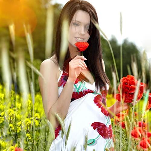 Шаблон женский - Нежный маковый букетик