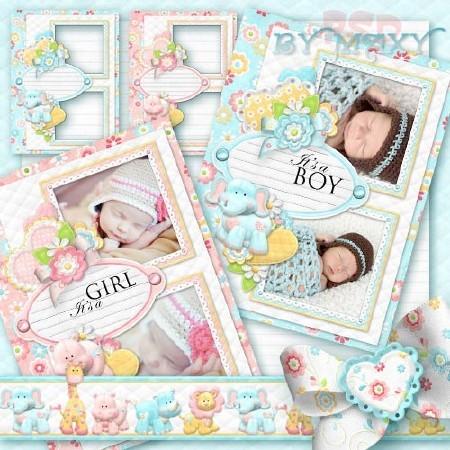 Рамки парные для детского дизайна - Сердечки и цветочки для малышей