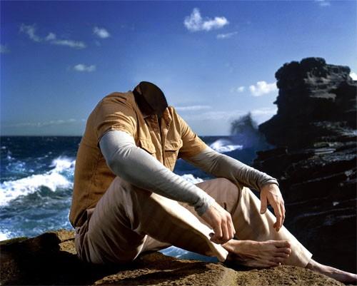 Шаблон для мужчин - Парень на уступе у океана