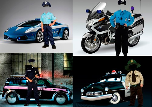 Шаблоны для фотошопа  - Мальчики в костюмах полицейски