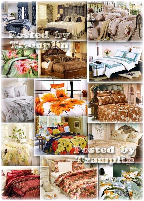 Фото клипарт – Интерьер спальни и постельное белье