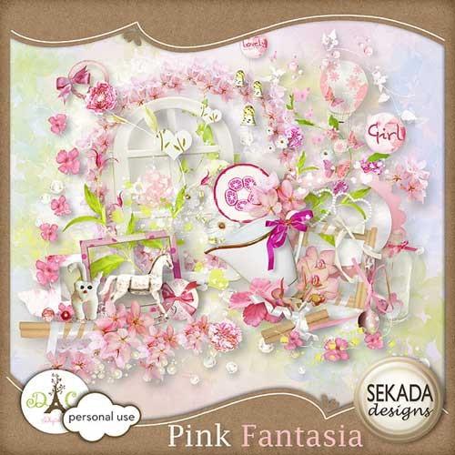 Нежно-розовый цветочный скрап-набор - Розовая фантазия