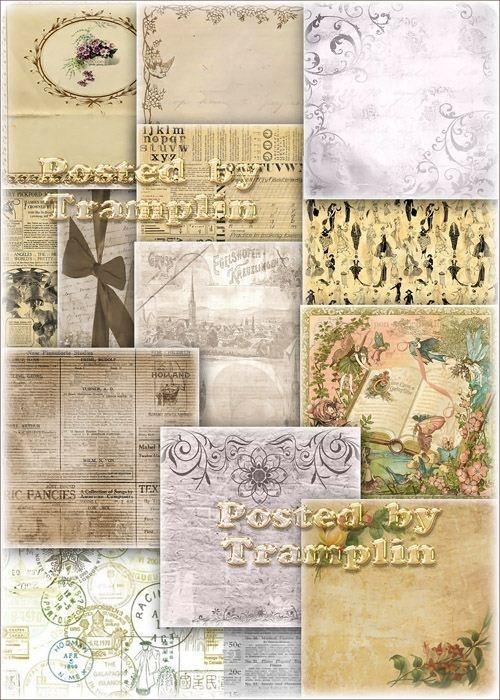 Фоны в стиле ретро – Газеты, цветы, лица, печати
