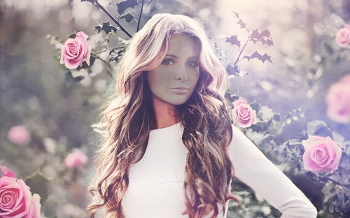 Женский шаблон - Девушка в розовых розах