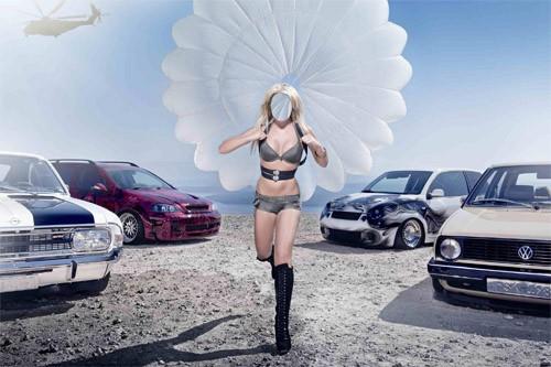Шаблон женский - Девушка с парашютом