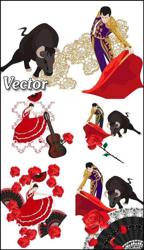 Тореадор, коррида, испанская девушка, танец фламенко - векторный клипарт