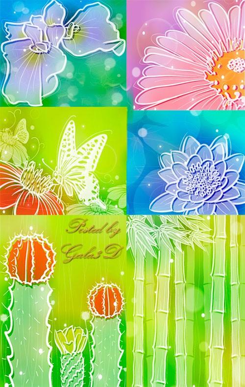 Векторные цветочные фоны