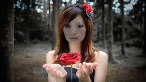 PSD шаблон - С красивой розой