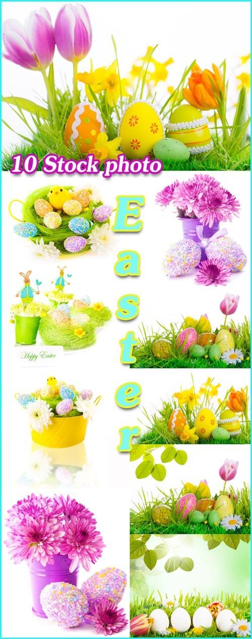Пасха, пасхальные яйца, цветы, кролики и цыплята - растровый клипарт
