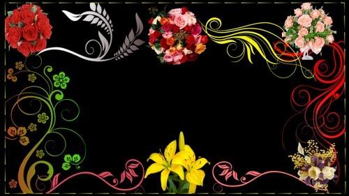 Футаж - рамка с букетами цветов и узорами