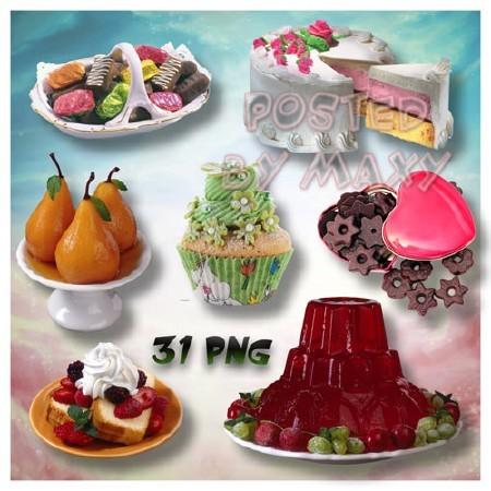Клипарт - Яркие картинки десертов на прозрачном фоне