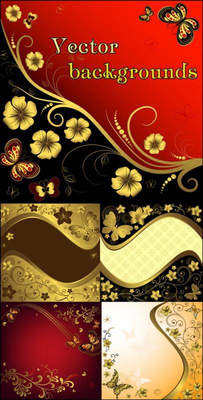 Фоны с цветами и бабочками, золотой декор - векторный клипарт