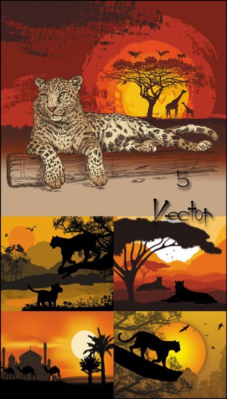 Животные на фоне заката, леопард, жираф, верблюд - векторный клипарт