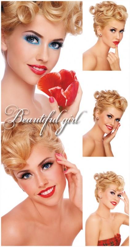 Очаровательная девушка с красивой прической и макияжем - растровый клипарт